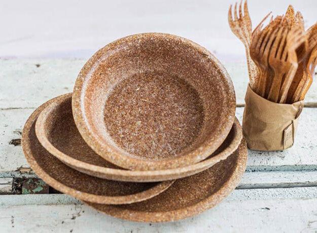 Съедобная одноразовая посуда из отрубей польского производства